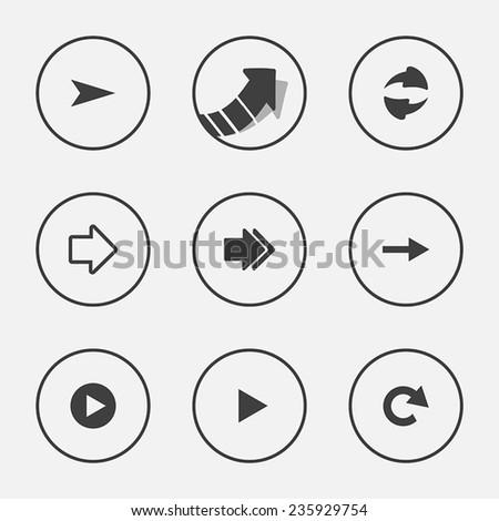 Arrow icon set pointer vector illustration internet web button design  - stock vector