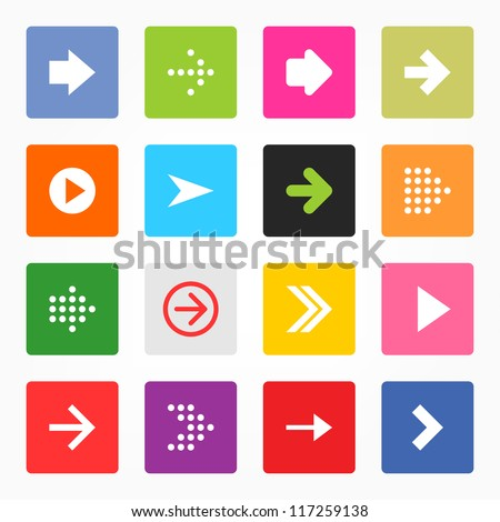 Arrow icon set popular color web sign. Simple rounded square shape internet button on gray background. Contemporary modern style for site or blog. Vector illustration internet design elements 8 eps - stock vector