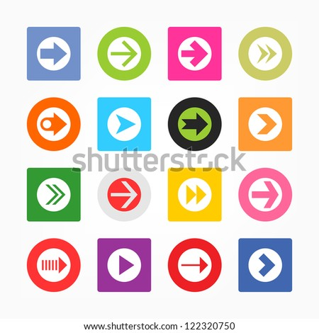 Arrow icon set sign in white circle. Simple circle and rounded square internet button gray background. Solid plain monochrome color flat tile metro style. Vector illustration web design elements 8 eps - stock vector