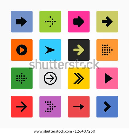 Arrow icon set web sign. Black on color. Solid plain mono one-color flat tile. Simple rounded square internet button. Contemporary modern metro style. Design elements vector illustration 8 eps - stock vector