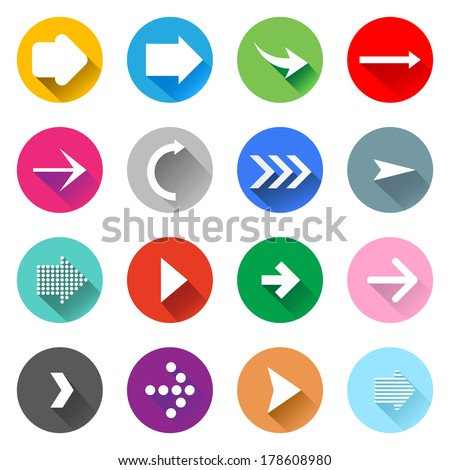 Arrow icons set. Flat design - stock vector
