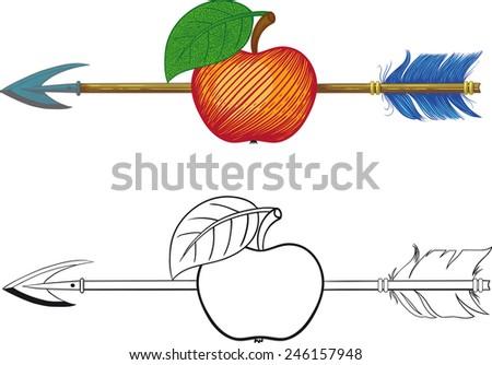 Arrow in Apple - stock vector