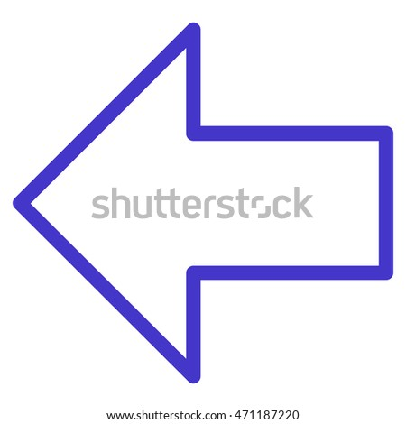 Arrow Left vector icon. Style is stroke icon symbol, violet color, white background.