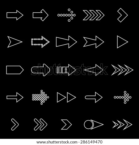 Arrow line icons on black background, stock vector - stock vector