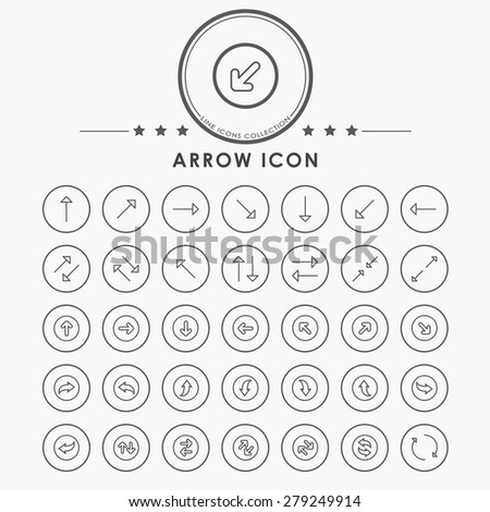 arrow line icons with circle button - stock vector