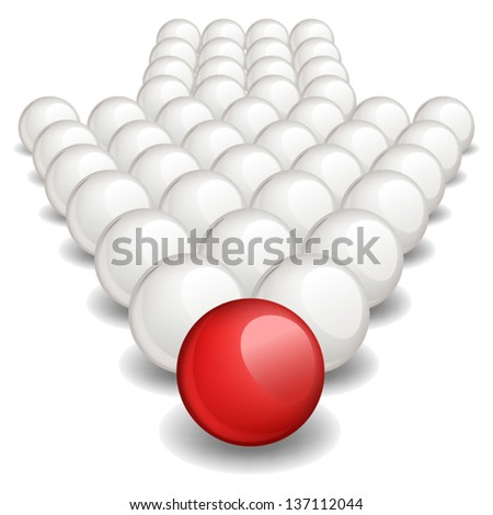 Arrow made up of white balls with one red ball standing ahead the rest. Vector image, no size limit. - stock vector