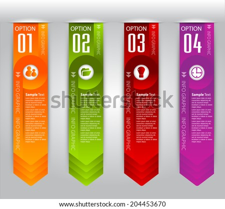 Arrow modern text box template, four color label, icon, numbers.