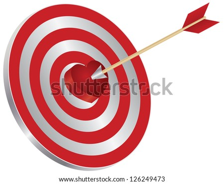 Arrow on Archery Target Red Heart Shape Bullseye Isolated on White Background Illustration Vector