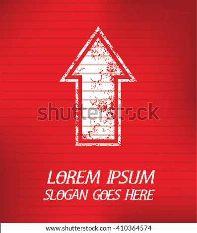 Arrow on red background,poster grunge design - stock vector