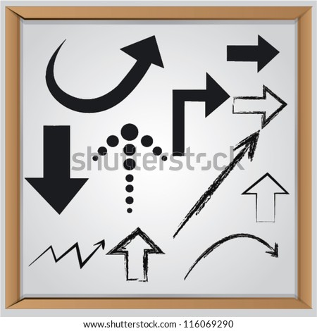 Arrow on whiteboard background,Vector - stock vector