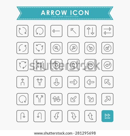 arrow outline icons - stock vector