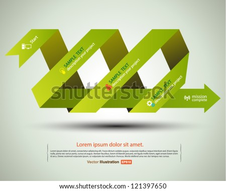 Arrow paper ribbon concept to success complete / business concept /education concept/ vector origami - stock vector