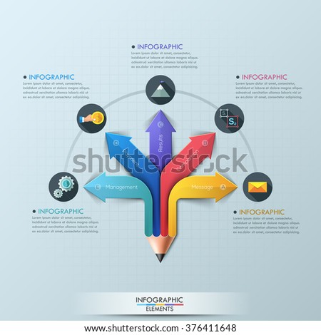 Arrow Pencil Infographic Design Template. Can be used for workflow layout, diagram, number options, step up options, web design, banner template, infographic. - stock vector