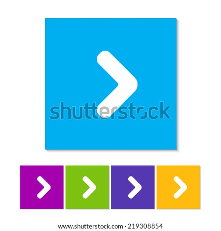 Arrow point pointing right flat icon. Orange, purple, magenta, violet, yellow, green and blue color buttons - stock vector