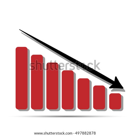 Arrow pointing down. Red graph falling point arrow for business artwork for design on modern presentation and website design