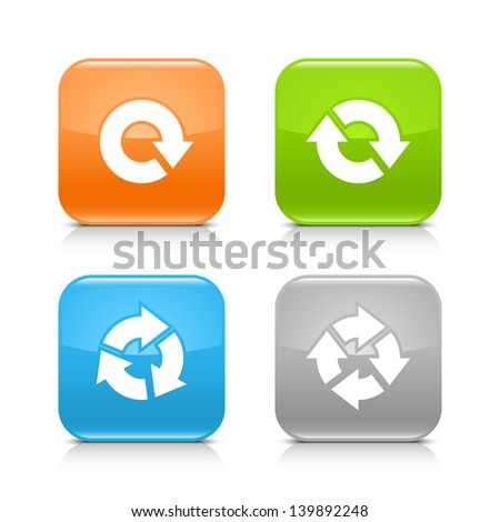 Arrow reload, rotate, refresh, repeat sign on rounded square glossy icon web internet button with shadow and reflection on white background. (set 04). Vector illustration web design element 8 eps - stock vector