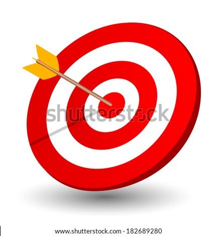 Arrow right on the target, symbol of winning - stock vector