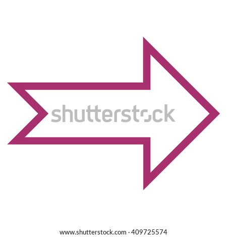 Arrow Right vector icon. Style is stroke icon symbol, purple color, white background.
