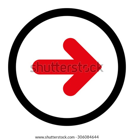 Arrow Right vector icon. This rounded flat symbol is drawn with intensive red and black colors on a white background. - stock vector