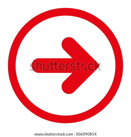 Arrow Right vector icon. This rounded flat symbol is drawn with red color on a white background. - stock vector