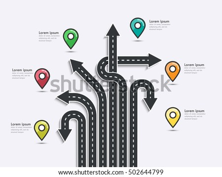 arrow road map business journey infographic stock vector royalty