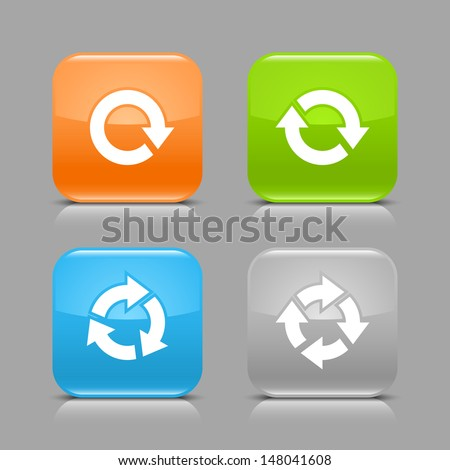 Arrow rotate, repeat, reload, refresh sign on glossy rounded square icon web internet button with shadow and reflection on gray background (set 03). Vector illustration design element 8 eps - stock vector