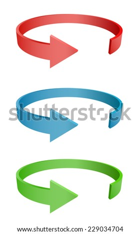 arrow round 3d icon design - stock vector