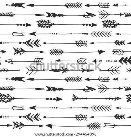 Arrow rustic seamless pattern. Hand drawn vintage vector background. Decorative design illustration. - stock vector