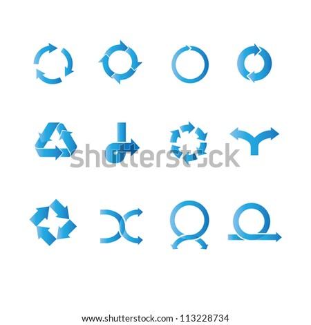 arrow set, arrow sign set, blue - stock vector