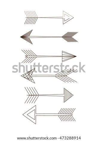 Arrow set. different variations. smooth contour. vector illustration on white background.