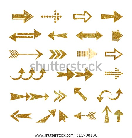Arrow set made of gold glitter texture. Vector illustration