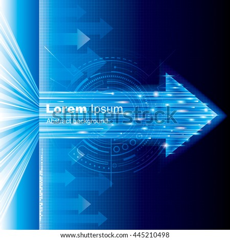 Arrow sign abstract technology blue background. - stock vector
