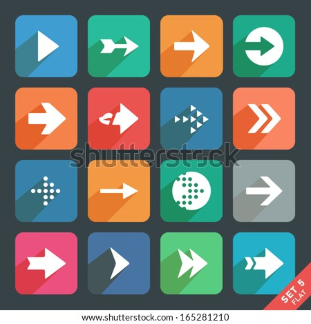 Arrow sign Flat icon set. Dark version. - stock vector