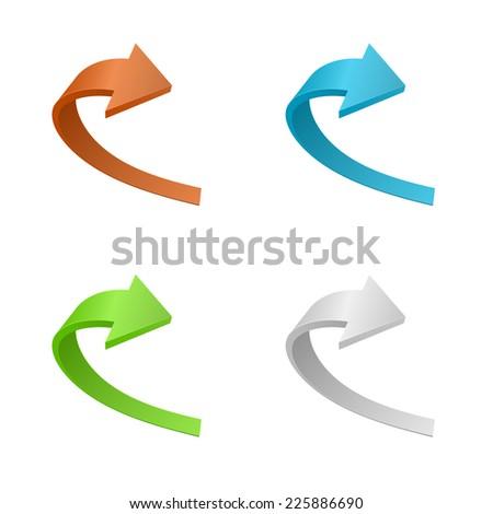arrow sign icon 3d curve design - stock vector