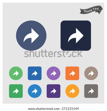 Arrow sign icon. Next button. Navigation symbol. Arrow Icon Set. Flat Icons. Vector Arrows Set in Circles & rectangular Isolated on different Background - stock vector