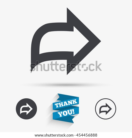 Arrow sign icon. Next button. Navigation symbol. Flat icons. Buttons with icons. Thank you ribbon. Vector - stock vector