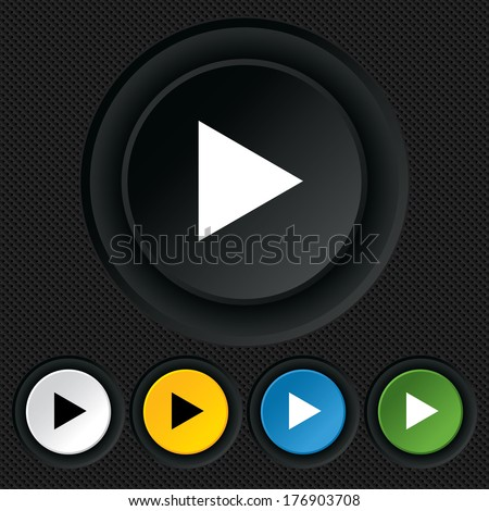 Arrow sign icon. Next button. Navigation symbol. Round colourful buttons on black texture. Vector - stock vector