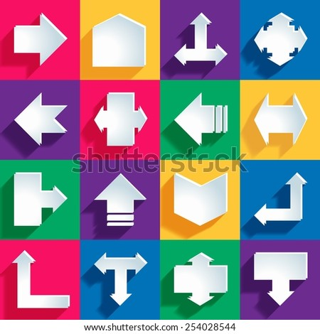 Arrow sign icon set. Simple circle shape internet button on color background. Contemporary modern style. This vector illustration web design elements saved 10 eps - stock vector