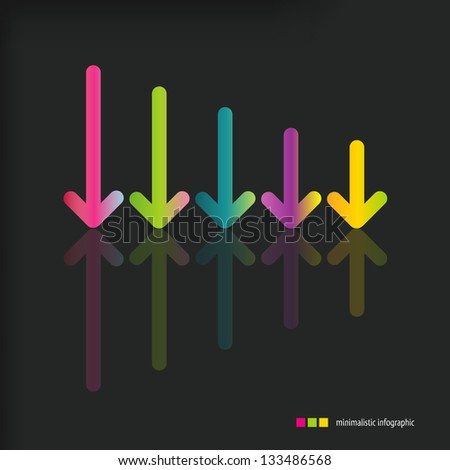 Arrow sign icon set. Simple color arrows on black background. Modern minimalistic style. Vector illustration of infographic web design elements. - stock vector