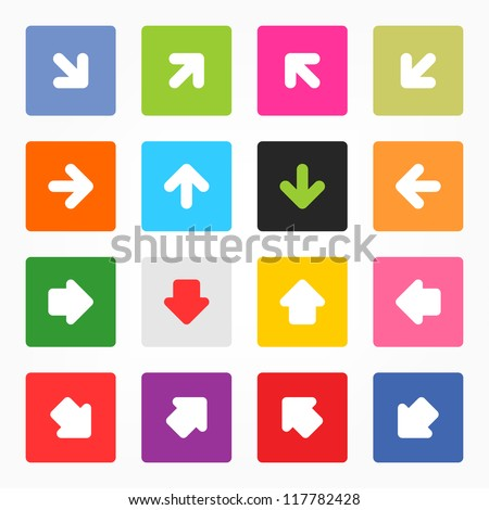 Arrow sign icon set. Simple minimal rounded square shape web button gray background. Solid plain monochrome color flat tile. Contemporary modern metro style. Vector illustration design elements 8 eps - stock vector