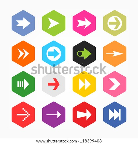 Arrow sign icon set. Simple rounded hexagon internet button gray background. Solid plain monochrome color flat tile. Minimal contemporary metro style. Vector illustration web design elements 8 eps - stock vector