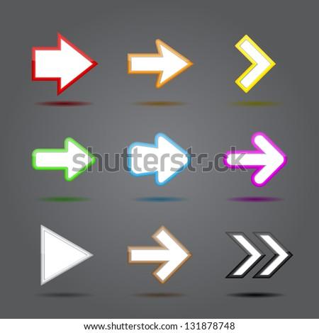 Arrow sign icon set. Vector illustration - stock vector