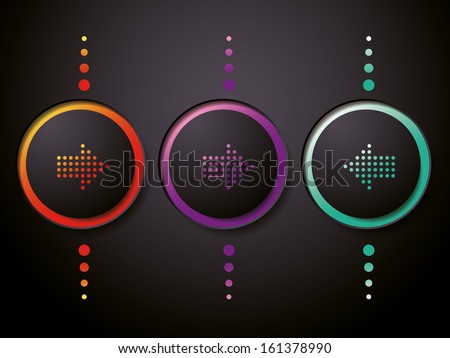 Arrow sign icon. Simple circle shape internet button - stock vector