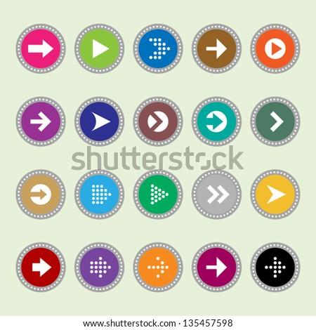 Arrow sign icons set 1 - stock vector