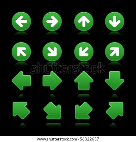 Arrow sign web 2.0 internet buttons. Green matted shapes with reflections and shadows on black background