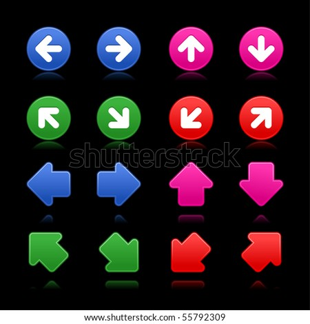 Arrow sign web 2.0 internet buttons. Smooth colorful shapes with reflections and shadows on black background - stock vector