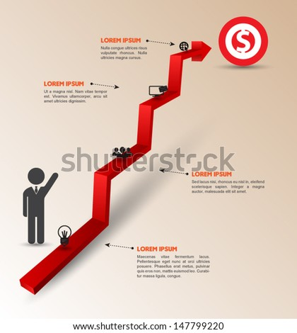 Arrow step to success. can use for business concept, education diagram, brochure object. - stock vector