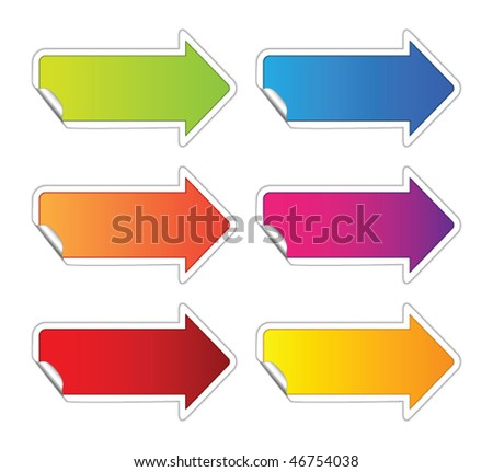 Arrow sticker - stock vector