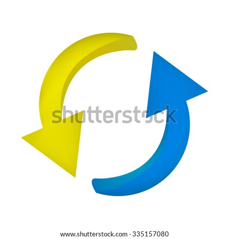 Arrow symbol, yellow blue icon clipart cycle business concept. Vector illustration isolated on white background.