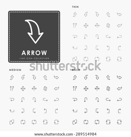 arrow thin, medium and bold minimal outline icons - stock vector